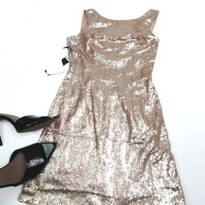 Lulu's gold sequins sexy drape back party dress L